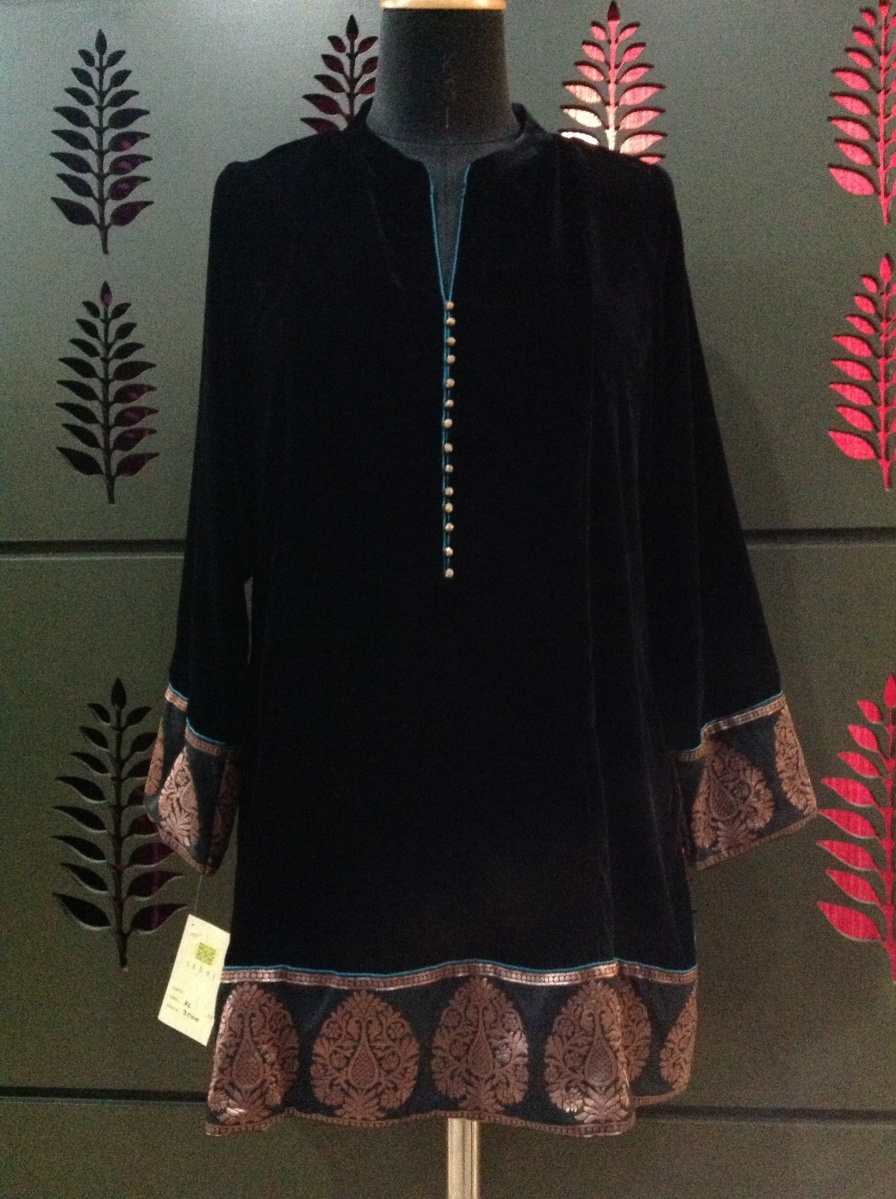 Velvet kurti with brocade detail
